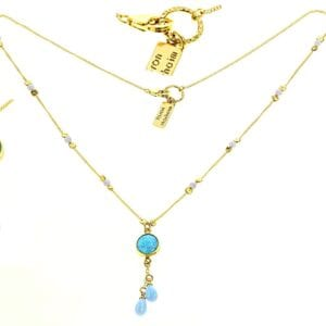 Delicate sterling silver and 14k rolled gold necklace with opalite beads and pendant drop