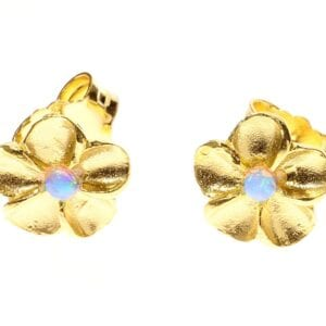 Sweet sterling silver with 24k gold plate studs set with opalite gems