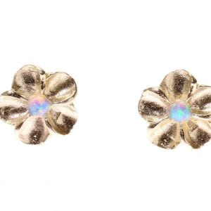Sweet sterling silver studs set with opalite gems