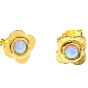 Pretty little flower sterling silver and 24k gold plate studs set with opalite gems
