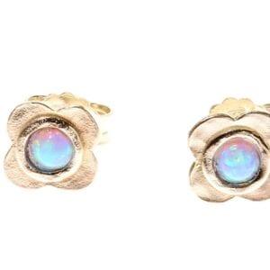 Pretty little flower sterling silver studs set with opalite gems