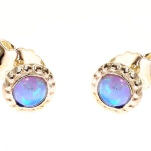 Lovely sterling silver studs set with round opalite gems