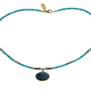Lovely blue apatite necklace set with cubic zirconia and a large kayanite gem