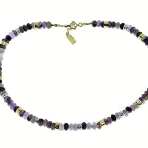 Pretty amethyst sterling silver and 14k rolled gold gem necklace