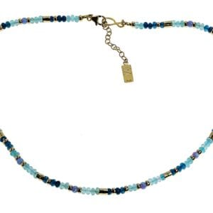 Delicate strand of blue apatite and opalite gems with sterling silver and 14k rolled gold