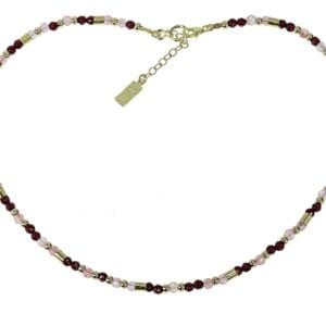 Delicate strand of ruby jade and rose quartz gems with sterling silver and 14k rolled gold