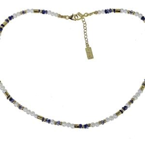 Delicate strand of pearl and iolite gems with sterling silver and 14k rolled gold