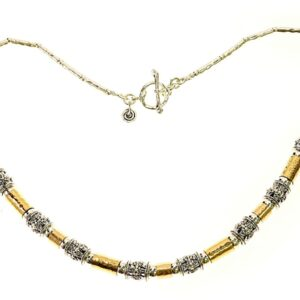Beautiful hand crafted sterling silver and 14k rolled gold necklace