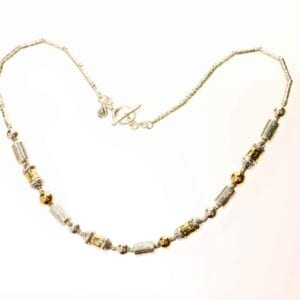 Gorgeous sterling silver and 14k rolled gold necklace with multi hand crafted components