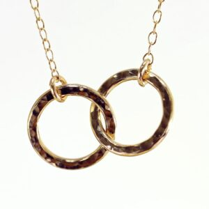 Pretty hammered finish entwined loops necklace in 14k rolled gold