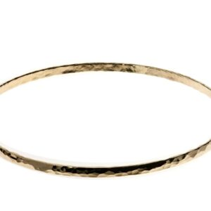 Stunning 14k rolled gold slim hammered finish bangle