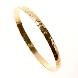 Stunning 14k rolled gold hammered finish bangle