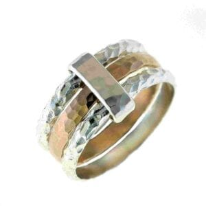 Adorable sterling silver and 14k rolled golled hammered finish ring with silver connecting loop