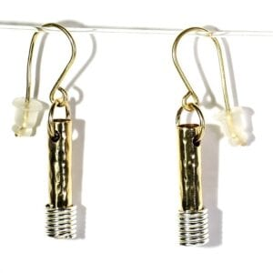 Trendy hammered 14k rolled gold tubular earrings with sterling silver spiral