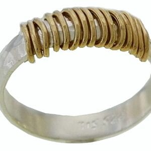 Trendy hammered sterling silver ring with 14k rolled gold wrap