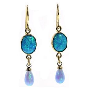 Beautiful Opalite drop 14k rolled gold earrings
