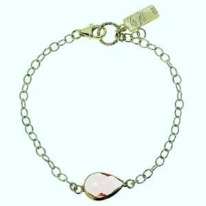 Adorable sterling silver with 14k rolled gold bracelet with pink coloured teardrop