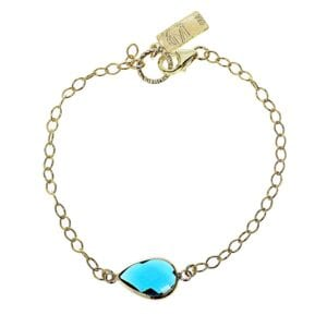 Adorable sterling silver with 14k rolled gold bracelet with blue coloured teardrop