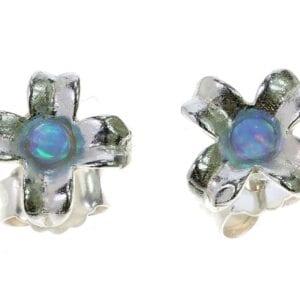 Sweet sterling silver stud earrings with opalite gems