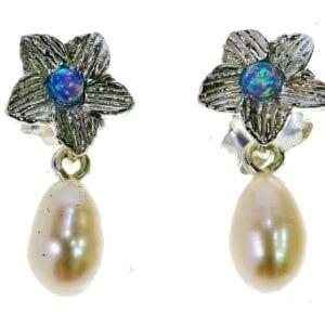 Elegant sterling silver pearl drop earrings set with opalite gems