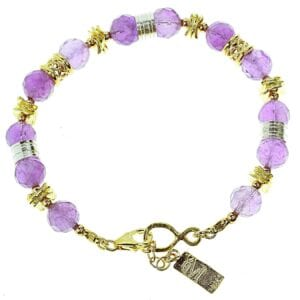 Beautiful Sterling Silver and 14k rolled gold bracelet with amethyst gems