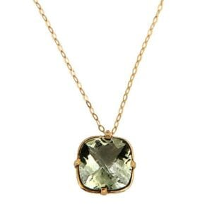 Beautiful Green Amethyst necklace with 14k rolled gold chain