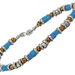 Beautiful opal bracelet with silver and gold-0