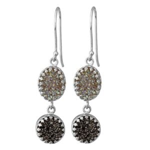 Beautiful double drop silver earrings with druzy gems-0