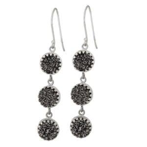 Beautiful triple drop silver earrings with druzy gems-0