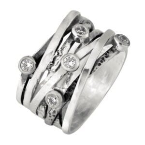 Amazing wrap around silver ring with cz-0