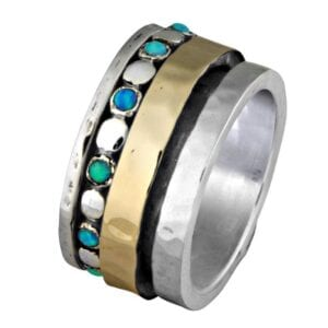 Amazing silver and gold spinning ring with opals-0