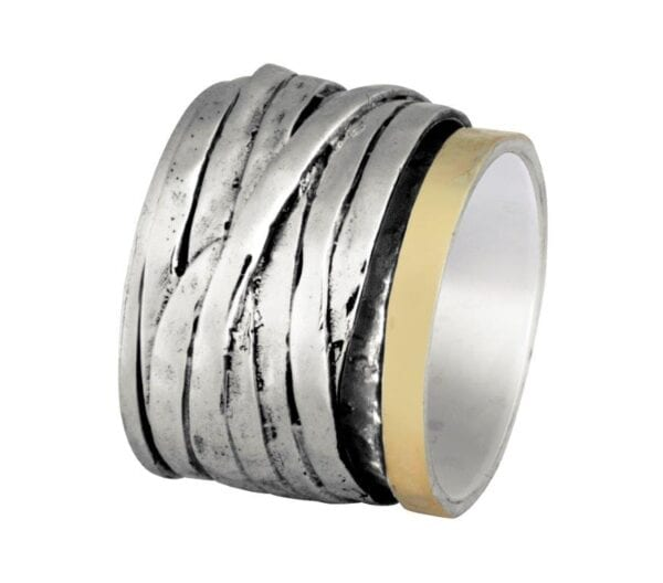 Beautiful broad wrap around style silver and gold ring-0