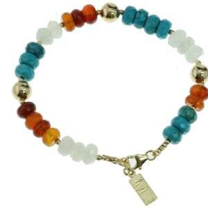Multi colour gemstone bracelet-0