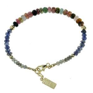 Gorgeous multi colour tourmaline's gemstone bracelet-0