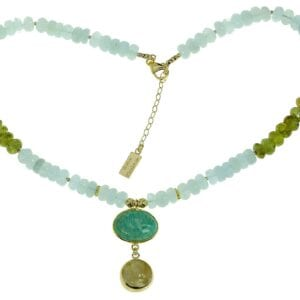 Aquamarine & Green Garnet necklace-0