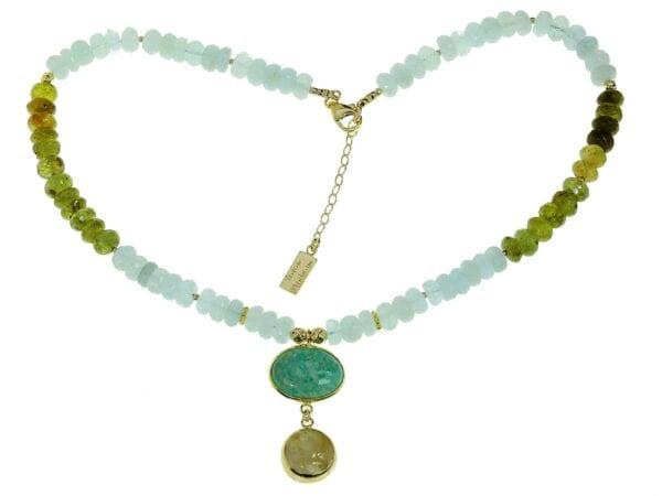 Aquamarine & Green Garnet necklace-0
