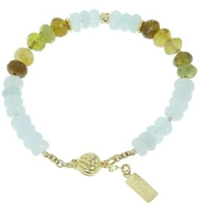 Aquamarine & Green Garnet Bracelet-0